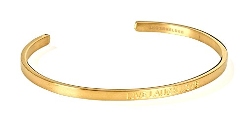 URBANHELDEN - Armreif mit Gravur - Damen Schmuck Inspiration Motivation - Verstellbar, Edelstahl - Armband mit Spruch Live Laugh Love Blind - Gold (Blind Gold)