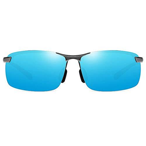FURUDONGHAI Half Frame Sports Blendfreie Sonnenbrille aus Alloy Corporeal UV400 Blau/Gelb Lens Gun Frame Square Sonnenbrille für Herren besonders geeignet für sommerreisen oder Outdoor s