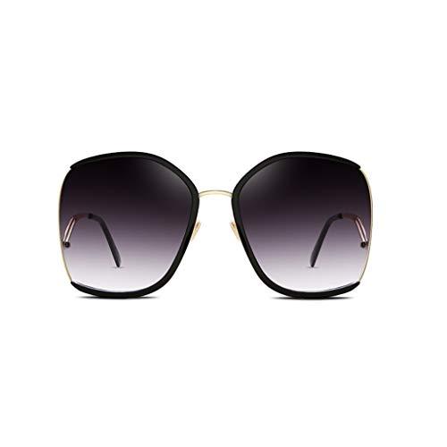 BAIF Erhöhen Sie erweitern dünne Gläser Lange runde Gesichts-Sonnenbrille weibliche koreanische Version der Prominenten-Netz-rote transparente Sonnenbrille-Gezeiten (Farbe: SCHWARZ)