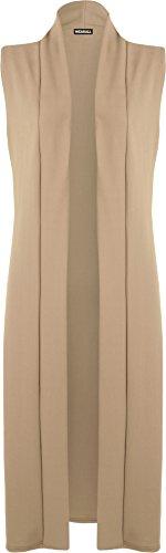 WearAll - Femmes Longue Midi Sans Manches Ouvert Plaine Veste Cardigan Haut Gilet - Cardigans - Femmes - Tailles 36-42 Camel