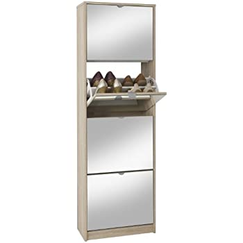 schuhschrank schuh bert 500 mirror drehbarer spiegelschuhschrank spiegel wei h he 150cm amazon. Black Bedroom Furniture Sets. Home Design Ideas