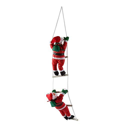 Unitedheart decorazione natalizia, babbo natale scale da arrampicata decorazione dell'albero di natale ornamento di capodanno babbo natale dare impiccagioni regalo di grandi dimensioni con scala