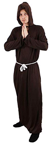 Bademantel mit Kapuze + Weiß Seil Gürtel Friar Tuck Outfit Hirsch Nacht Religiöse aus Passform ()