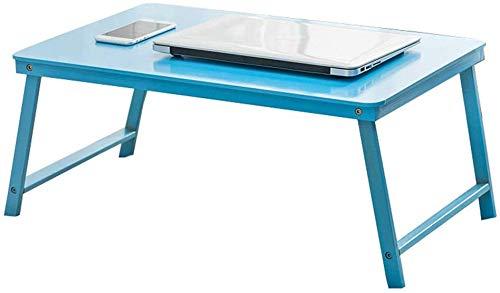 CWJ Kreative Tische Steht Klapptisch, Bett Tisch Student Kind Studie Tisch Büro Laptop Tisch Kleine Couchtisch Bambustisch Schlafzimmer Lagerung Schreibtisch Regal,Blau,60 * 39 * 27CM