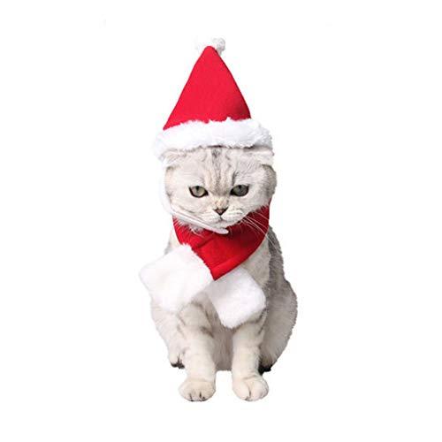 Niedliches Hundekostüm, Verstellbare Weihnachtsmütze und Schal, süße Katzenkostüme für Welpen, Kätzchen, Kleine Hunde und Katzen, Urlaubszubehör, L, Santa - Group Kostüm Einfach