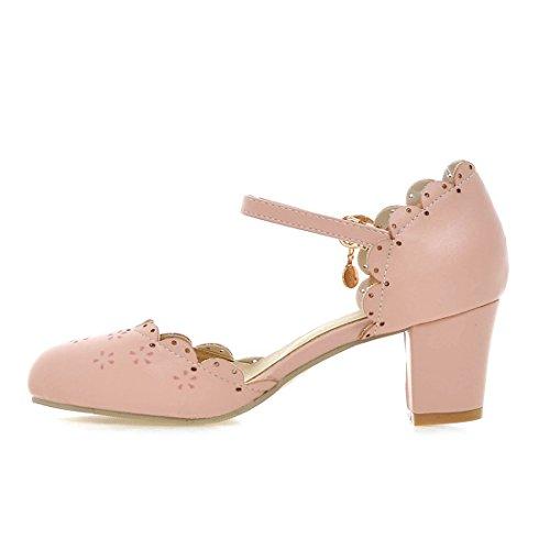YE Damen Chunky Heels Knöchelriemchen Geschlossene Pumps mit Blockabsatz und Schnalle Bequem Schuhe Rosa