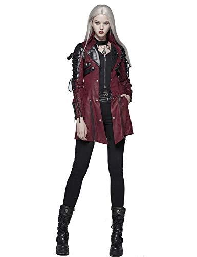 Punk Rave Damen Winter Lange Leder Gothic Trenchcoat Jacke XXL Rot