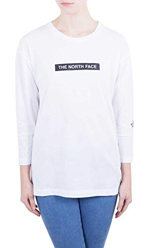 THE NORTH FACE Women - White cotton long sleeve logo tee - Size XS (Womens North Face Tee)