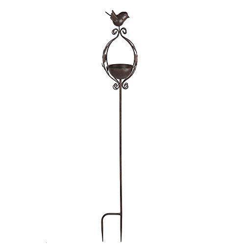 linoows G2142: Retro Vogeltränke, Vogelbad Zum stecken mit Vögelchen aus Eisen
