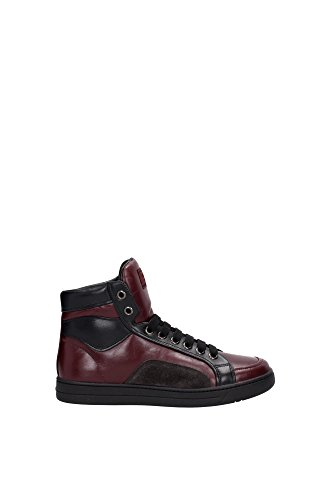 4T2724BORDEAUXNERO Prada Sneakers Uomo Pelle Rosso Rosso