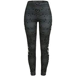 MORCHAN Femmes Notes de Musique Imprimer Taille Haute Leggings Yoga Pantalon Extensible Jeans Combinaisons Short Collants Knickerbockers (L,Gris foncé)