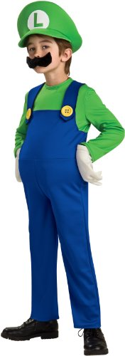 Super Mario Bros. LUIGI Deluxe Kostuem Gr. 146-164 = (Mario Bros Zubehör Kostüm)