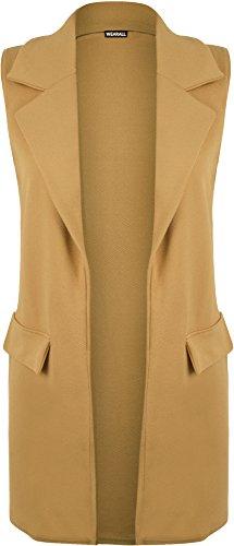 WearAll - Damen Ärmelloses Crepe Offene Langwestentasche Top Jacket - 5 Farben - Größe 36-42 Camel