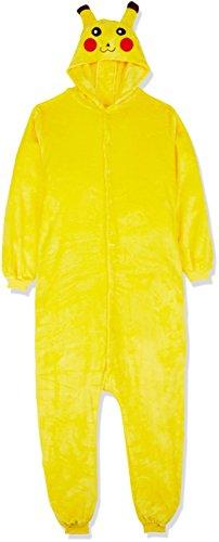 Carchet 1744 - Pokemon Pikachu Einteiler Kostüm-Anzug Onesie/Jumpsuit für Erwachsene, Damen, Herren, viele verschiedene Tiere, gelb, XL