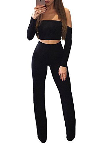Voghtic Damen Sexy Schulterfrei Langarm Crop Tops + Lange Hosen 2 Stück Outfits Overall (Outfit 2 Sehr Stück Sexy)