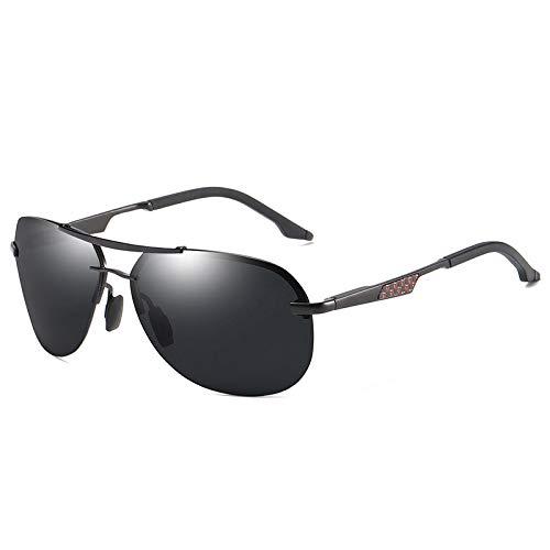 MINGW Retro polarisierte Mann-Sonnenbrille-Art- und Weiserandlose übergroße Versuchs-Sonnenbrille-Carbonfaser-Brillen UV400