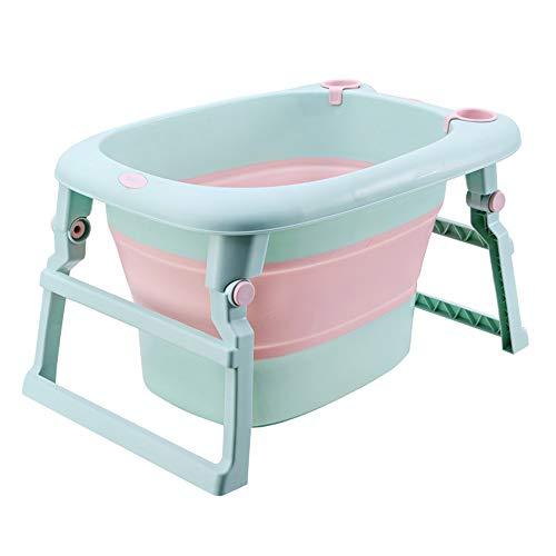 Nuoyi Faltbare Babybadewanne mit platzsparender Babybadewanne, abnehmbarem Wasserspüler, Babybadekissen, großem Haushalt für die Materialsicherheit -