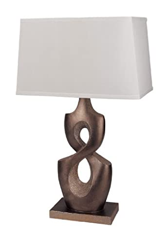 ACME Furniture Lamps Polyethylene Base White Shade Table Lamp Modern and Contemporary Design - Golden Bronze Finish, Set of 2
