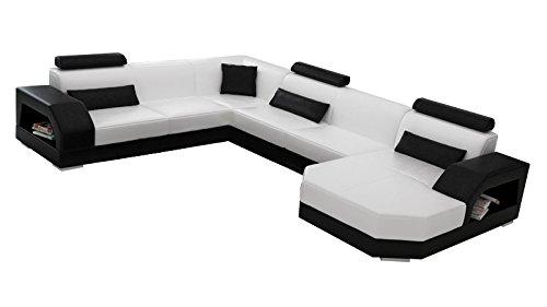 JVmoebel LEDERSOFA XXL DESIGNER WOHNLANDSCHAFT LINZ I, Weiß/Grau, 276x350x200 oder 200x350x276, Leder