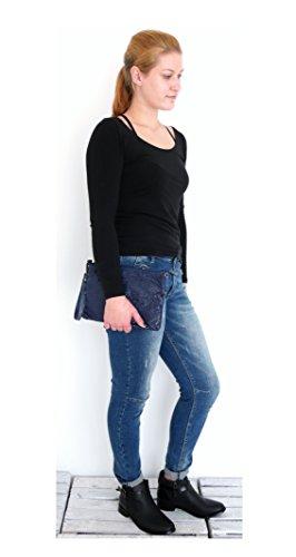 t*fd  8029 - schwarz, Pochette pour femme gris grau-khaki S, schwarz (noir) - 8338 bleu