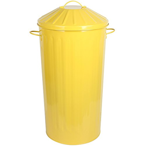 CrazyGadget Metal 50 Litre 50L Home Kitchen Round Colour Recycle Dustbin Paper Rubbish Waste Bin with Lid (Yellow)