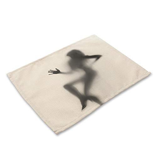 Sexy Frau wie Muster gedruckt Baumwolle leinen Western tischdecke tischdecke Geschirr Matte, Packung mit 2 -