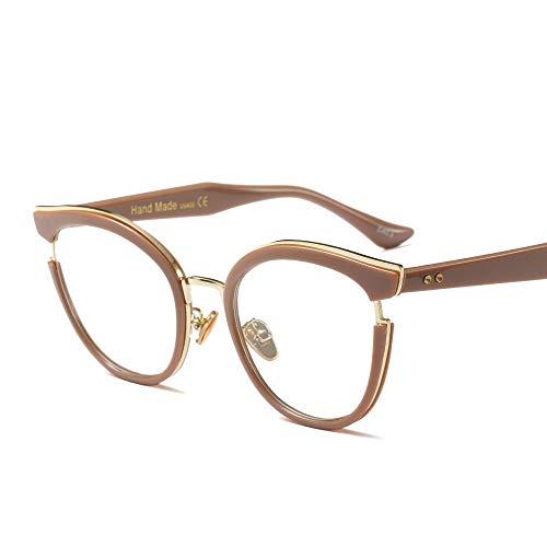 Easy Go Shopping Mode Classic Horn umrandeten klare Brille, Retro Brillengestell für Frauen Sonnenbrillen und Flacher Spiegel (Farbe : Khaki)