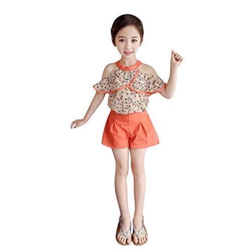 Tyoby Mädchen Bedrucktes Chiffon-Kurzarm-T-Shirt + Rüsche Shorts Zweiteiler,Sommer Freizeit Baby Anzug(Orange,100/9)