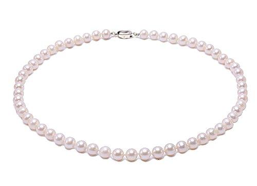JYX Perlenkette weiß AAA-grade 7.5mm Classic Weiß Rund Süßwasser Perle Perlenkette kurz weiß - Perle-perlen-halsketten-bulk