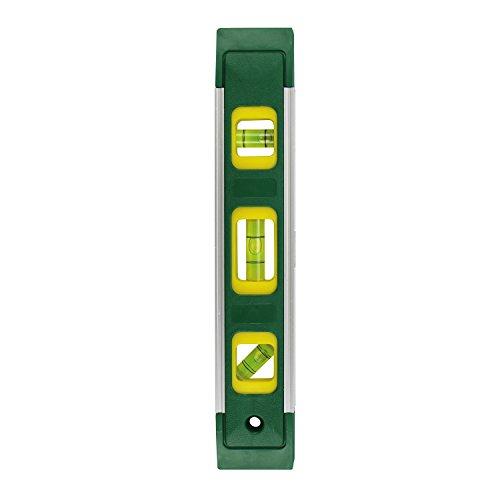 Magnet-Wasserwaage ★GRAD★ 23 cm klein mit 3 Libellen für den Hausgebrauch - Stoßfeste Richt-Waage mit Aluminium-Kanten & Magnet-Streifen zur Befestigung auf magnetischen Oberflächen, Grün