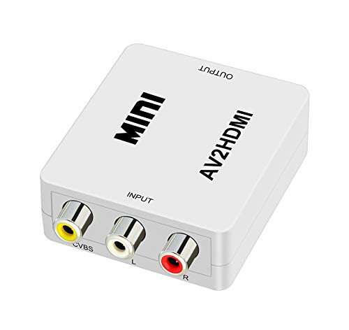 QGECEN Mini RCA Composite AV zu HDMI Video Audio Konverter Adapter Box mit USB Ladekabel für PS2 Wii Gamecube Kamera VHS VCR DVD