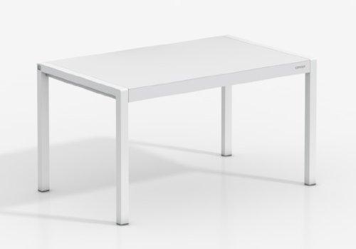 MESA EXTENSIBLE CONCEPT - Encimera Porcelanico Artic /Patas Blanco, 120X80 cms, (Varios...
