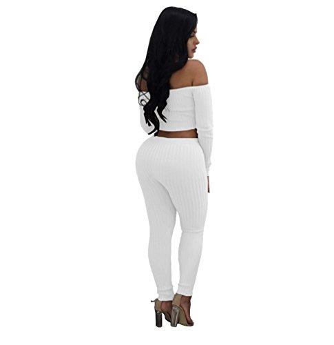 YAANCUN Donna 2 Pcs Sets Colore Solido Usura Da Discoteca Maniche Lunghe Top + Stretto Pantaloni Bianco