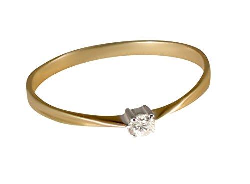 zierliche Diamant Solitär gelb gold ring-53 (16.9) (Diamant-ring Gelb-gold)