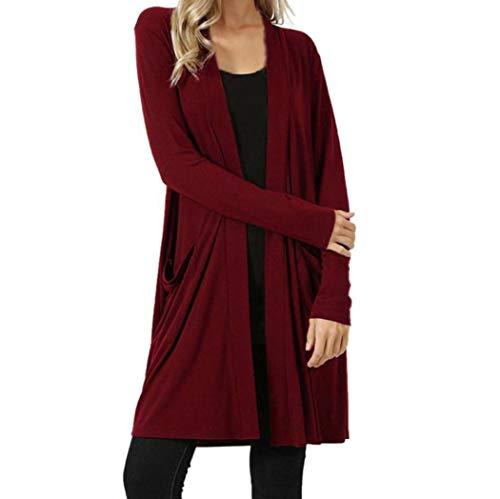 Long cardigan long manteau Femmes, Toamen Poche à manches longues Pull Cardigan ouvert devant Couleur unie Trois couleurs Automne et hiver (L, rouge)