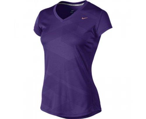 NIKE Printed Top da donna con collo a V, Viola (court purple/mtlc red bronze), S Viola - court purple/mtlc red bronze