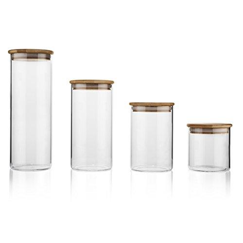 Set aus 4luftdichten Glas Vorratsdosen mit Bambus Deckel | perfekt für Müsli, Pasta, Cookies, und Bulk Ware | 9,5cm im Durchmesser | Jar Höhen: 8,3cm 13,3cm 18,4cm und 25,4cm (Bulk Jars Cookie)