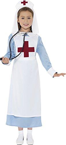 Smiffys Kinder WW1 Schwester Kostüm, Kleid, Mock Schürze und Haube, Größe: S, 44026