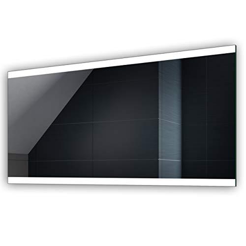 FORAM Design Badspiegel mit LED Beleuchtung - Kaltweiß (Breite 100 cm x Höhe 70 cm) - Individuell Nach Maß - Beleuchtet Wandspiegel Lichtspiegel BadezimmerspiegelA++