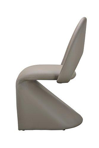 CAVADORE Schwingstuhl 2-er Set LOGAN / 2x gepolsterte Esszimmerstühle in modernem Design / Bezug Kunstleder beige / schlamm Farbe / 52 x 89 x 55 cm (B x H x T) - 3