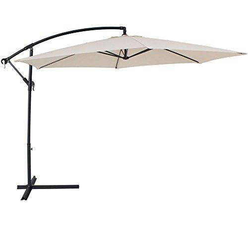 Fp-tech ombrellone da giardino decentrato 3x3 laterale richiudibile, beige chiaro o verde (beige)