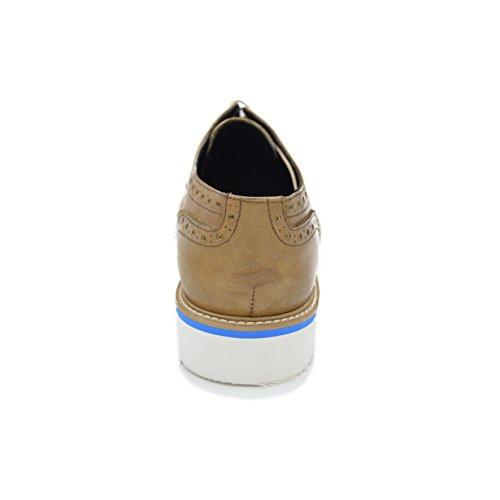 SAMUEL -- Scarpa francesina (Oxford) in pelle spazzolata, stringata, su fondo EVA Ultraleggero Cuoio