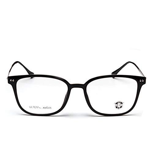 Yajiemei Retro quadratische Brille Rahmen Wolfram Titan Stahl Brille Nicht verschreibungspflichtige Brille für Frauen Männer (Color : Matte Black)