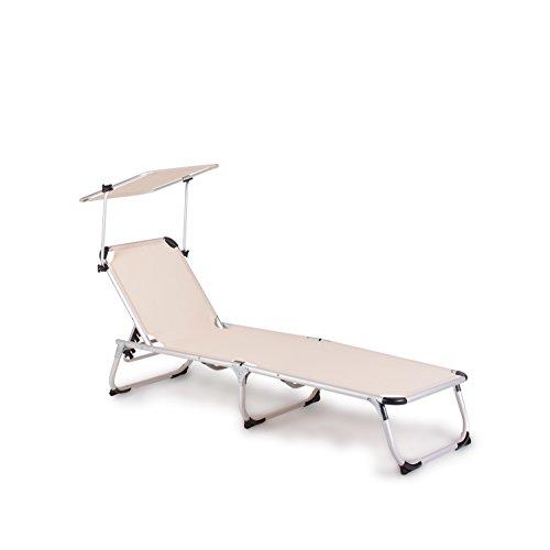 Vanage Gartenliege Sophia in beige mit Sonnendach - Sonnenliege mit Textilbezug und Dach - Liegestuhl ist klappbar - Gartenmöbel - Strandliege aus Aluminium - Relaxliege für den Garten