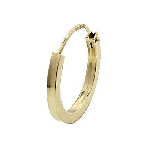 NKlaus EINZEL 585 gelb Gold CREOLE Ohrring Ohrschmuck flach Goldohrring 14mm 1844 (Gold-flache Creolen)