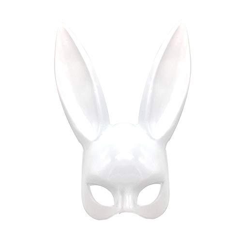 DTOWER Party Halloween Kostüm Latex, Maske Hasenohren für Frauen, Gloss White
