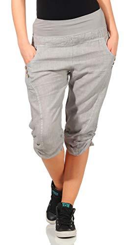 3fd1c7cd34 Malito Donna Lino Pantaloni Tempo Libero Pantaloni Plain Colors 7988 (L,  Grigio Chiaro)