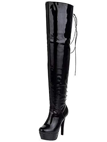 AIYOUMEI Damen Geschlossen Lack Overknee Stiefel mit Plateau und Schnürung Stiletto Langschaft Stiefel