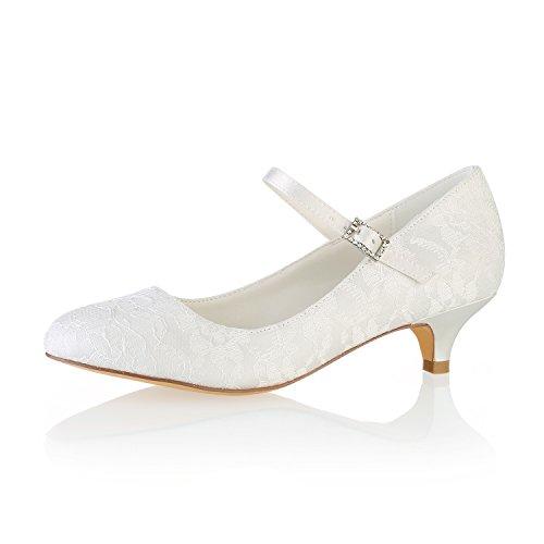 Emily Bridal BrautschuheSpitze Hochzeit Schuhe runde Kappe Mary Jane Brautschuhe Kitten Heel Mutter Schuhe (EU42, Elfenbein)