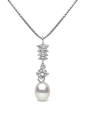 Kimura Pearls - 7.0-Argenté Perles de culture Blanc 7,5 mm pendantes, perle d'eau douce-AA Pendentif et chaîne 40,6 cm
